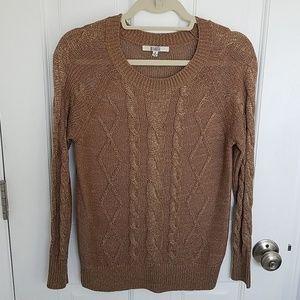 BB Dakota Gold Bronze Cable Knit Sweater S
